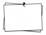 プッシュピンでとめたメモ用紙の白黒フレーム飾り枠イラスト03