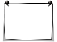 プッシュピンでとめたメモ用紙の白黒フレーム飾り枠イラスト04