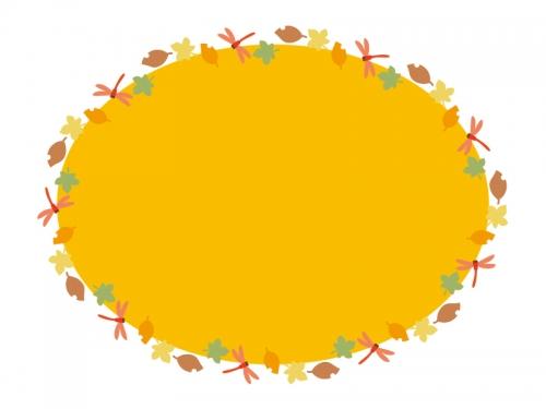 秋・赤とんぼと落ち葉のオレンジ色の楕円フレーム飾り枠イラスト