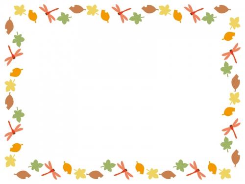 秋・赤とんぼと落ち葉の囲みフレーム飾り枠イラスト