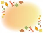 秋・赤とんぼと落ち葉のふんわりフレーム飾り枠イラスト