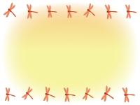 秋・赤とんぼのふんわり上下フレーム飾り枠イラスト