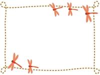秋・赤とんぼと茶色の点線フレーム飾り枠イラスト