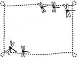 秋・とんぼの白黒点線フレーム飾り枠イラスト