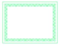 爽やかな緑色チェック模様のフレーム飾り枠イラスト