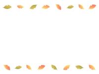 優しい色使いの落ち葉の上下フレーム飾り枠イラスト