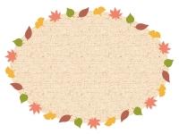 落ち葉と布の楕円フレーム飾り枠イラスト