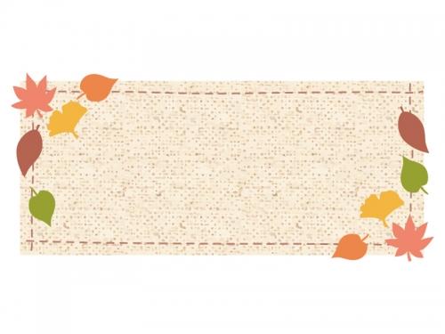 落ち葉と布の横長フレーム飾り枠イラスト