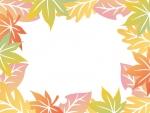 グラデーションがきれいな落ち葉の囲みフレーム飾り枠イラスト
