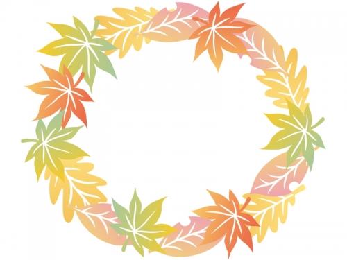 グラデーションがきれいな落ち葉のリース風フレーム飾り枠イラスト