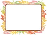 グラデーションがきれいな落ち葉の茶色フレーム飾り枠イラスト