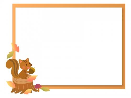 切り株に乗っているリスの茶色フレーム飾り枠イラスト