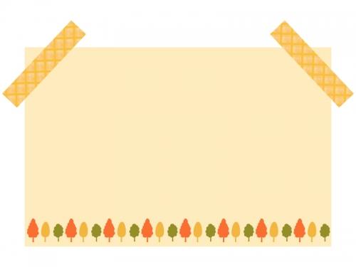 紅葉した木の柄のオレンジ色メモ風フレーム飾り枠イラスト