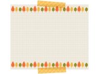 紅葉した木の柄の格子柄メモ風フレーム飾り枠イラスト
