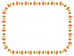 3色に紅葉した木の囲みフレーム飾り枠イラスト