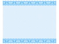 青い小鳥柄のレースのフレーム飾り枠イラスト