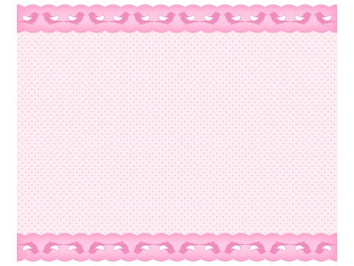 ピンク色の小鳥柄のレースのフレーム飾り枠イラスト