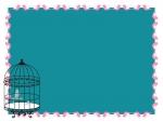小鳥とアンティーク風の鳥かごの深緑色のフレーム飾り枠イラスト