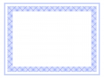 爽やかな青色チェック模様のフレーム飾り枠イラスト