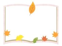 ピンク色の本と落ち葉のフレーム飾り枠イラスト