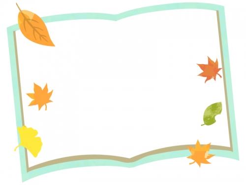 緑色の本と落ち葉のフレーム飾り枠イラスト