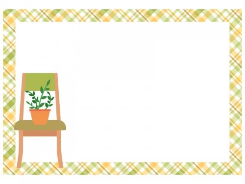 観葉植物を置いた椅子のチェック模様フレーム飾り枠イラスト