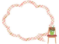 観葉植物を置いた椅子のモコモコチェック模様フレーム飾り枠イラスト