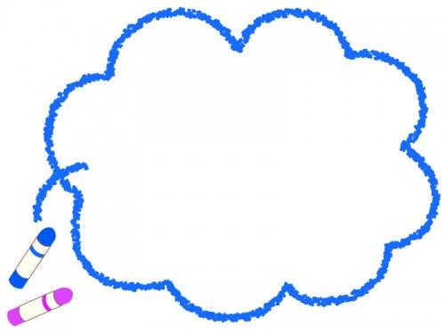 クレヨンの青いモコモコフレーム飾り枠イラスト