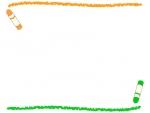 クレヨンの黄緑色とオレンジ色の上下フレーム飾り枠イラスト