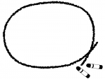 クレヨンの丸い白黒フレーム飾り枠イラスト