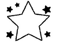 クレヨンで描いた星の白黒フレーム飾り枠イラスト