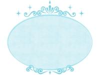 エレガントな水色のフレーム飾り枠イラスト