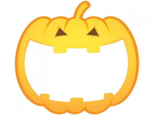 ハロウィン・ジャックオーランタンの形のフレーム飾り枠イラスト