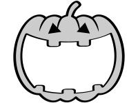 ハロウィン・ジャックオーランタンの形の白黒フレーム飾り枠イラスト