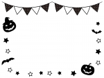 ハロウィンとフラッグガーランドの白黒フレーム飾り枠イラスト