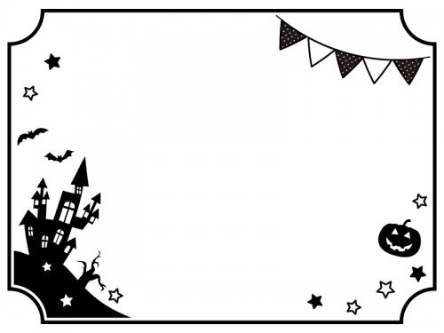 ハロウィンとフラッグガーランドとお城の白黒フレーム飾り枠イラスト