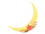 秋・お月さまと落ち葉のフレーム飾り枠イラスト