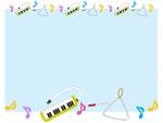 鍵盤ハーモニカとトライアングルの水色フレーム飾り枠イラスト