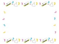 鍵盤ハーモニカとトライアングルと音符のフレーム飾り枠イラスト