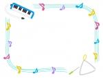 鍵盤ハーモニカとトライアングルの手書き線フレーム飾り枠イラスト