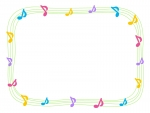 カラフルな音符と黄緑色の手書き線のフレーム飾り枠イラスト