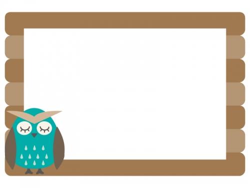 フクロウと木の看板のフレーム飾り枠イラスト