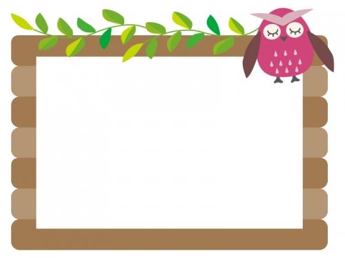 フクロウと葉っぱが絡んだ木の看板のフレーム飾り枠イラスト