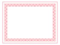 爽やかなピンク色チェック模様のフレーム飾り枠イラスト