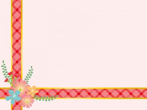 花を飾った赤いリボンのピンク色フレーム飾り枠イラスト