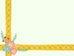 花を飾った黄色いリボンのクリーム色フレーム飾り枠イラスト