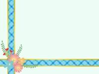 花を飾った青いリボンの水色フレーム飾り枠イラスト