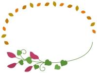 サツマイモと落ち葉の楕円フレーム飾り枠イラスト