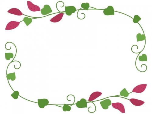 サツマイモとツルと葉っぱのフレーム飾り枠イラスト