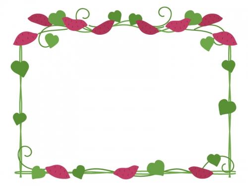 サツマイモとツルと葉っぱの四角フレーム飾り枠イラスト